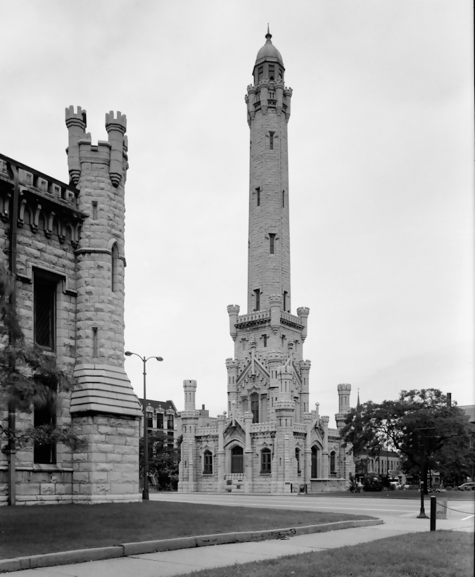 b&w photo of the chicago water tower