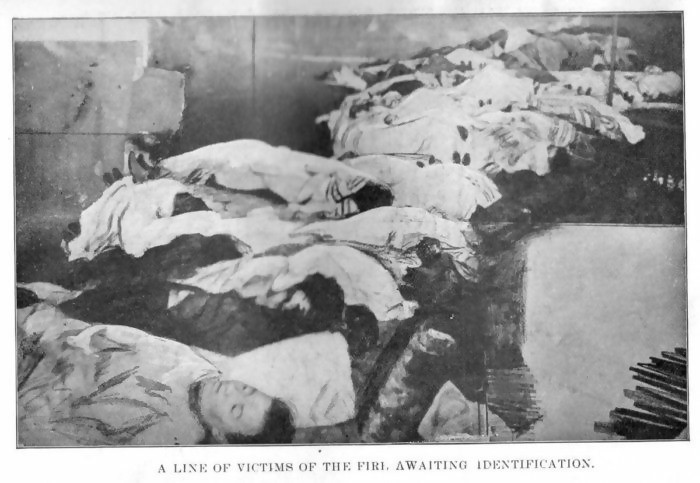 a line of victims awaiting identification