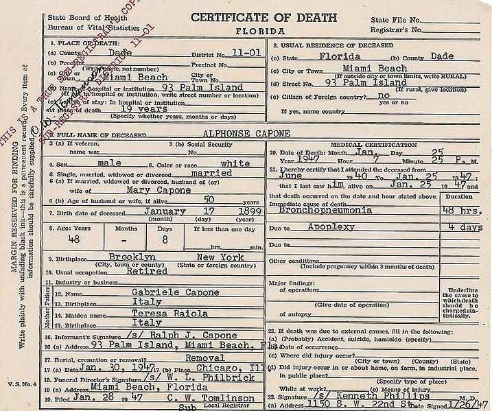 al capone's certificate of death
