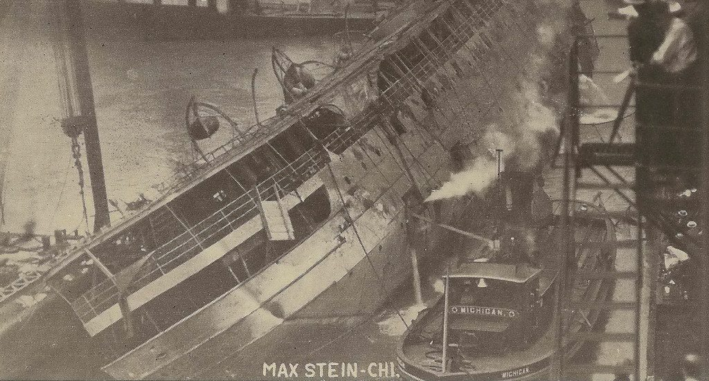 vintage photo of the ss eastland overturned in the river
