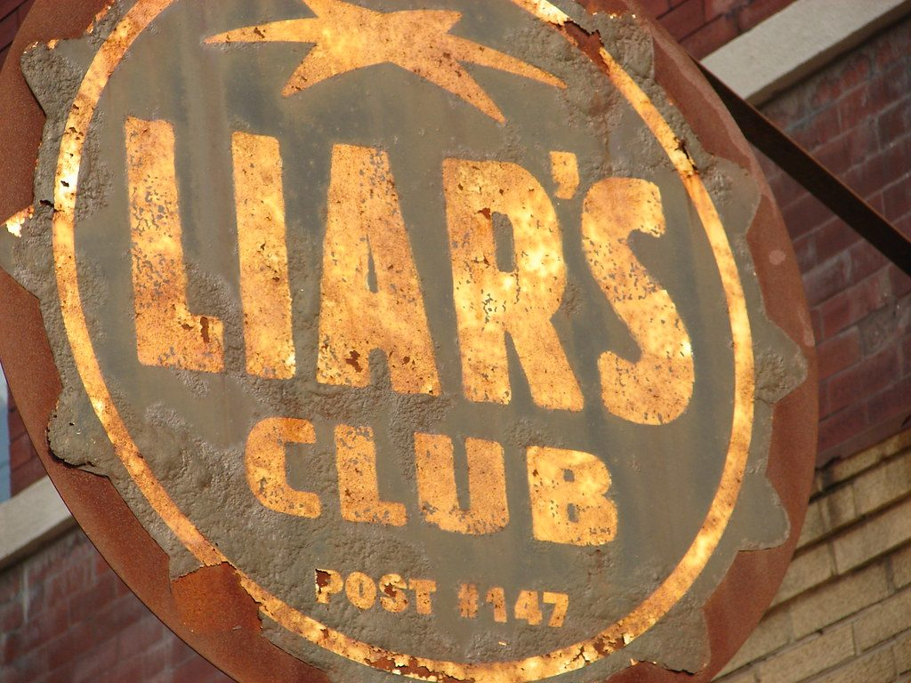 photo shows the liar's club's rusty sign