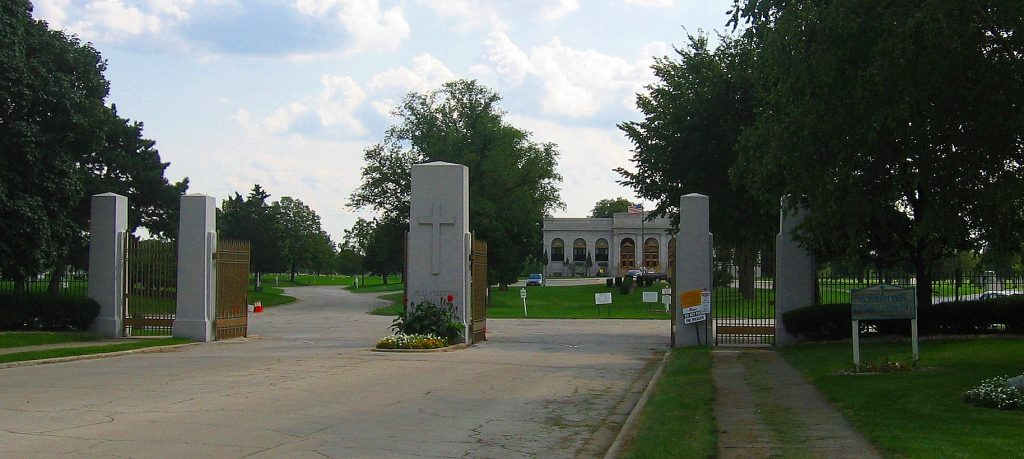 image of the front gates at resurrection cemetery