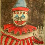 A hand drawn piece of Pogo the Clown